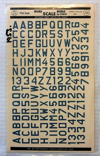 MICROSCALE 1/72 1953. 7241 LUFTWAFFE ID LETTERS AND NOs