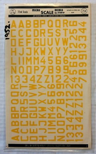 MICROSCALE 1/72 1952. 7240 LUFTWAFFE ID LETTERS AND NOs