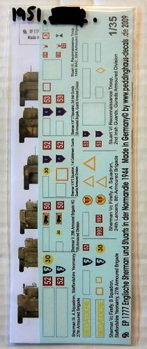 1/35 1951. PEDDINGHAUS DECALS 1777 ENGLISH SHERMAN AND STUARTS IN NORMANDIE 1944