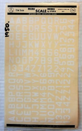 MICROSCALE 1/72 1950. 7239 LUFTWAFFE ID LETTERS AND NOs