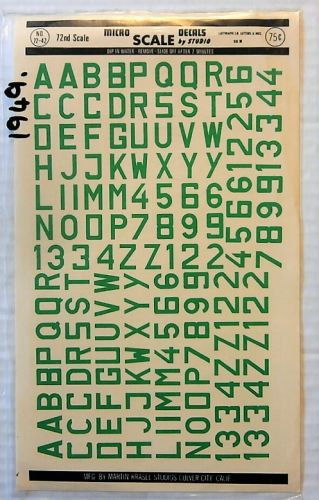 MICROSCALE 1/72 1949. 7242 LUFTWAFFE ID LETTERS AND NOs