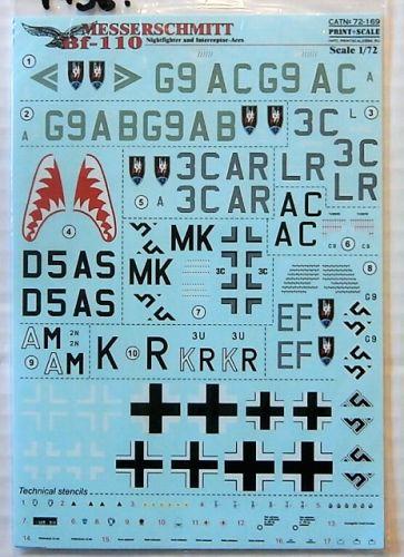 1/72 1936. PRINTSCALE 72169 MESSERSCHMITT BF-110 NIGHTFIGHTER AND INTERCEPTOR ACES