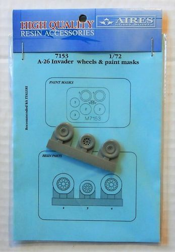 AIRES HOBBY MODELS 1/72 7153 A-26 INVADER WHEELS AND PAINT MASKS FOR ITALERI