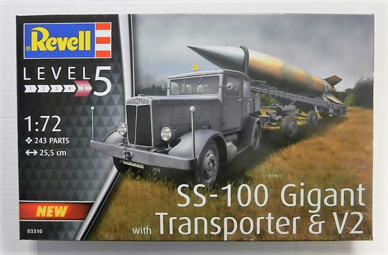 REVELL 1/72 03310 SS-100 GIGANT WITH TRANSPORTER AND V2