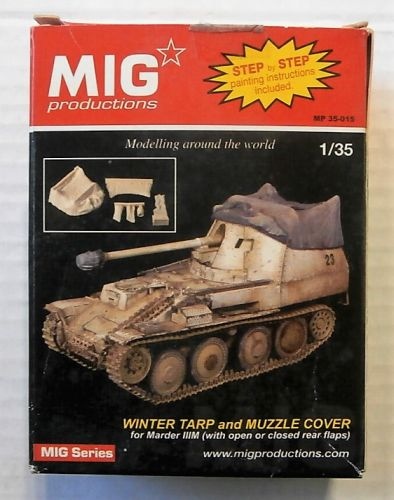 MIG PRODUCTIONS 1/35 35015 WINTER TARP AND MUZZLE COVER  FOR MARDER IIIM WITH OPEN OR CLOSED REAR FLAPS
