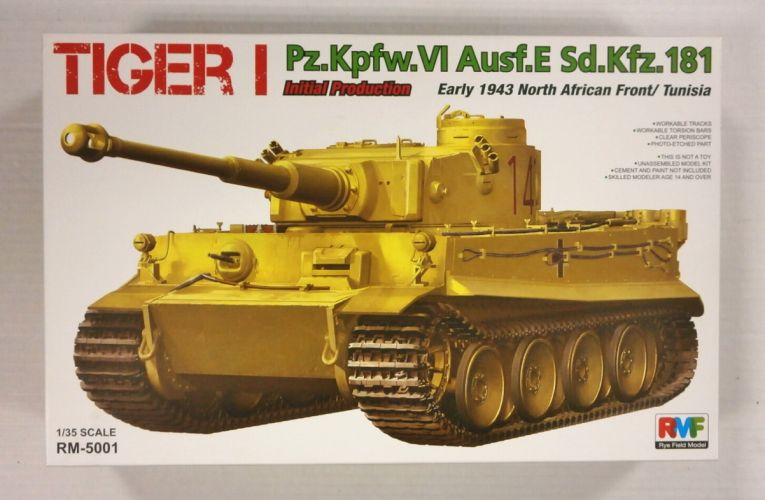 RYE FIELD MODEL 1/35 5001 TIGER I Pz.Kpfw.VI Ausf.E Sd.Kfz.181 EARLY 1943 NORTH AFRICAN FRONT/TUNISIA