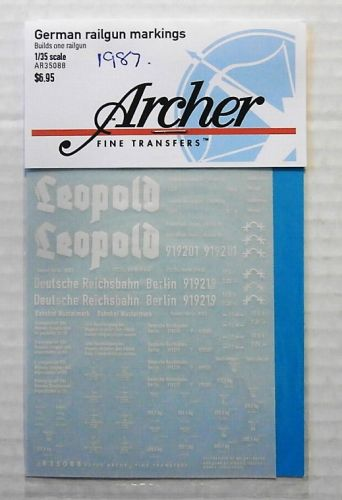 1/35 1987. ARCHER FINE TRANSFERS 35088 GERMAN RAILGUN MARKINGS