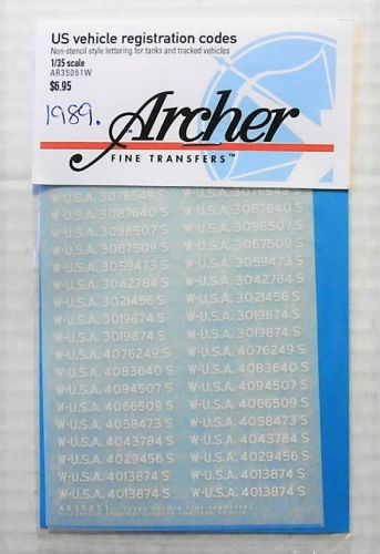 1/35 1989. ARCHER FINE TRANSFERS AR35051W US VEHICLE REGISTRATION CODES