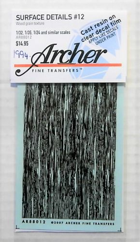 1/32 1/35 1/24 1994. ARCHER FINE TRANSFERS AR88012 SURFACE DETAILS No 12  WOOD GRAIN TEXTURE