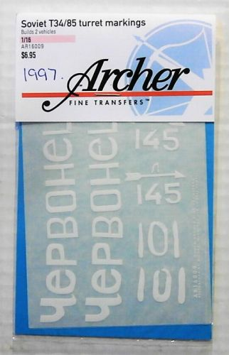 1/16 1997. ARCHER FINE TRANSFERS AR16009 SOVIET T34/85 TURRET MARKINGS No 2