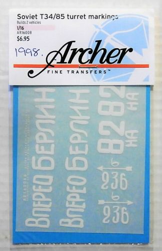1/16 1998. ARCHER FINE TRANSFERS AR16008 SOVIET T34/85 TURRET MARKINGS No 1