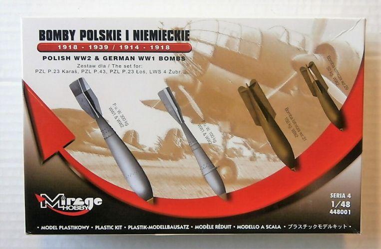 MIRAGE 1/48 448001 POLISH WWII   GERMAN WWI BOMBS