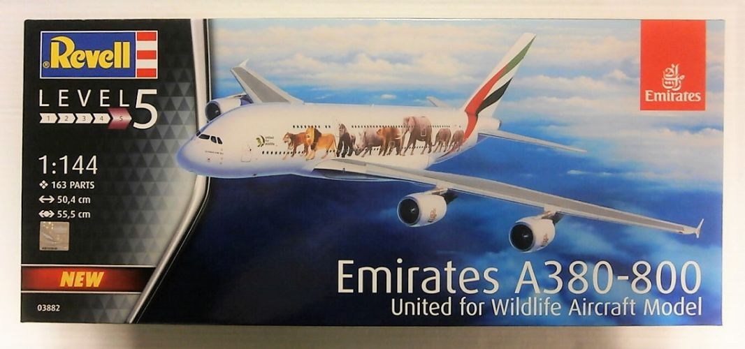REVELL 1/144 03882 EMIRATES A380-800  - UNITED FOR WILDLIFE AIRCRAFT MODEL