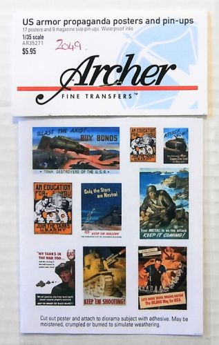 1/35 2049. ARCHER FINE TRANSFERS AR35271 US ARMOUR PROPAGANDA POSTERS AND PIN-UPS