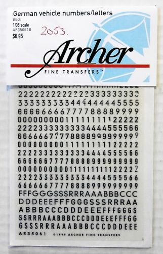 1/35 2053. ARCHER FINE TRANSFERS AR35061B GERMAN VEHICLE NUMBERS AND LETTERS