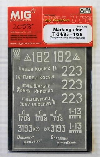 1/35 2058. MIG PRODUCTIONS MW3-216 MARKINGS FOR T-34/85