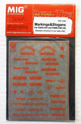1/35 2060. MIG PRODUCTIONS MW 3-234 MARKINGS AND SLOGANS FOR T34/76 AND KV1 AND T34/85  1941-45