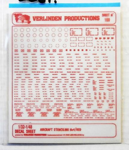 VERLINDEN PRODUCTIONS 1/32 - 1/48 2061. 169 AIRCRAFT STENCILING No 4  RED