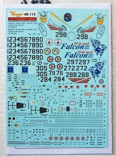 VINGTOR DECALS 1/48 2547. 48115 LOCKHEED MARTIN  F-16AM/BM FIGHTING FALCON RNOAF LATE MARKINGS