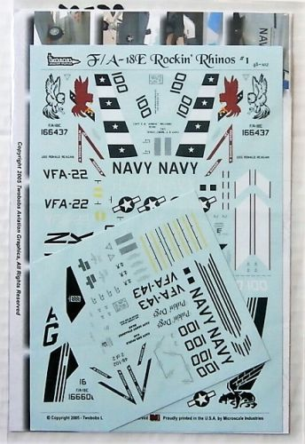 TWO BOBS 1/48 2578. 48102 F/A-18E ROCKIN RHINOS No 1