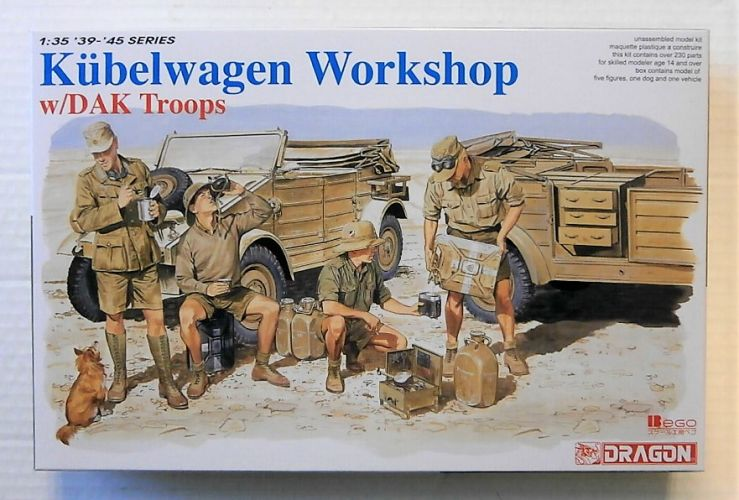 DRAGON 1/35 6338 KUBELWAGEN WORKSHOP W/ DAK TROOPS