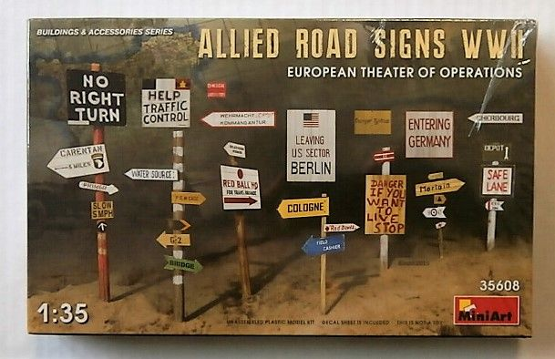 MINIART 1/35 35608 ALLIED ROAD SIGNS WWII EUROPEAN THEATER OF OPERATIONS