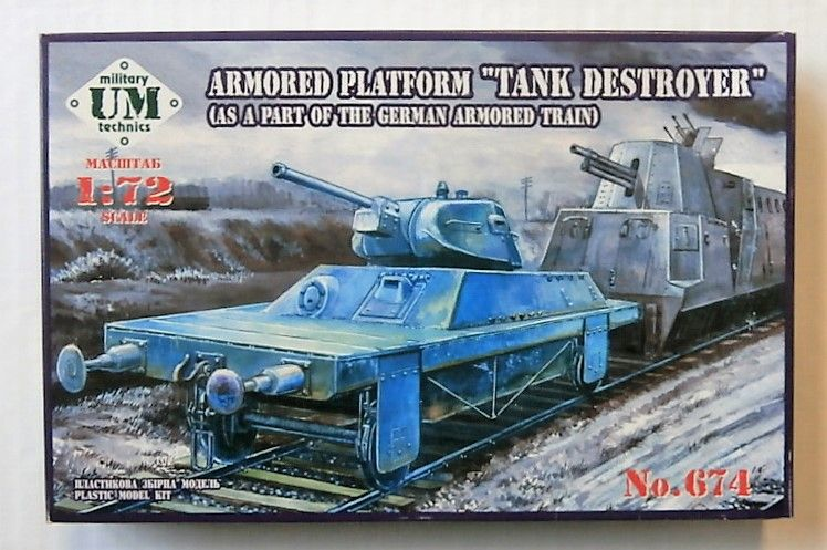 UNIMODEL 1/72 674 ARMOURED PLATFORM TANK DESTROYER  AS A PART OF THE GERMAN ARMOURED TRAIN