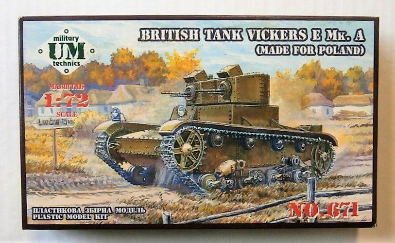 UNIMODEL 1/72 671 BRITISH TANK VICKERS E Mk. A  MADE FOR POLAND