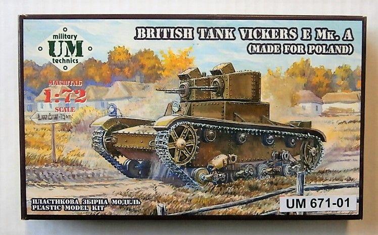 UNIMODEL 1/72 671-01 BRITISH TANK VICKERS E Mk. A  MADE FOR POLAND