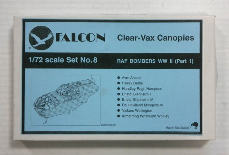 FALCON 1/72 CLEAR-VAX CANOPIES SET NO. 8 RAF BOMBERS WORLD WAR II  PART 1