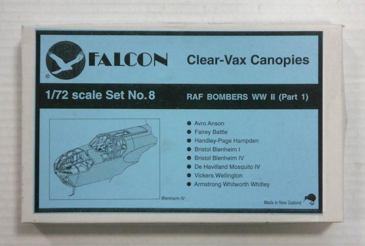 FALCON 1/72 CLEAR-VAX CANOPIES SET NO. 8 RAF BOMBERS WORLD WAR II  PART 1