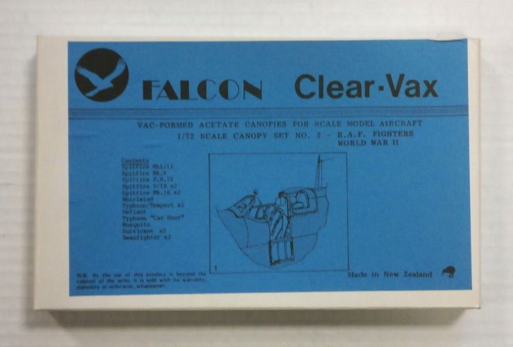 FALCON 1/72 CLEAR-VAX CANOPIES SET NO. 2 R.A.F. FIGHTERS WORLD WAR II