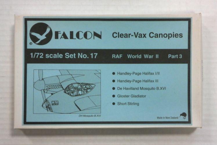 FALCON 1/72 CLEAR-VAX CANOPIES SET NO. 17 RAF WORLD WAR II PART 3