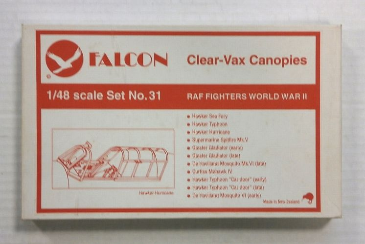 FALCON 1/48 CLEAR-VAX CANOPIES SET NO. 31 RAF FIGHTERS WORLD WAR II