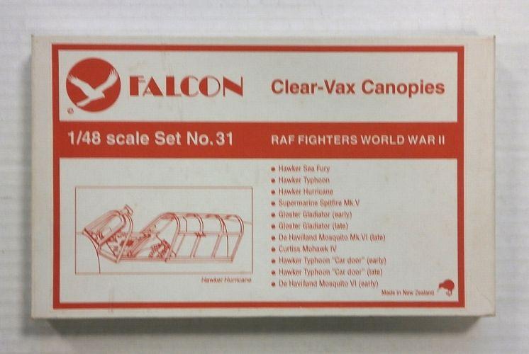 FALCON 1/48 CLEAR-VAX CANOPIES SET NO. 31 RAF FIGHTERS WORLD WAR II