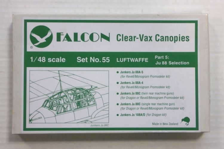 FALCON 1/48 CLEAR-VAX CANOPIES SET NO. 55 LUFTWAFFE PART 5 Ju 88 SELECTION