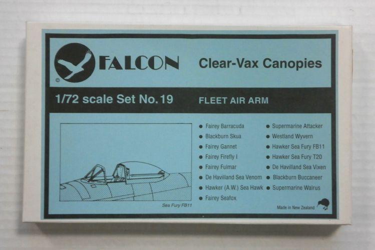 FALCON 1/72 CLEAR-VAX CANOPIES SET NO. 19 FLEET AIR ARM