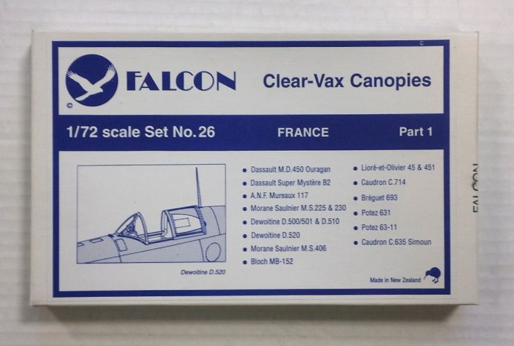 FALCON 1/72 CLEAR-VAX CANOPIES SET NO. 26 FRANCE PART 1