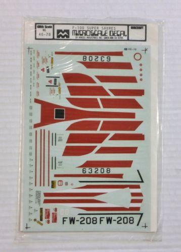 MICROSCALE 1/48 1621. 48-78 F-100 SUPER SABRES