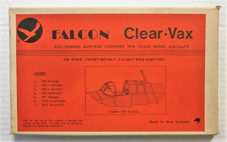 FALCON 1/48 CLEAR-VAX CANOPIES SET No7 US NAVY WWII PT1