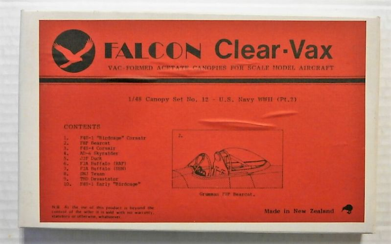 FALCON 1/48 CLEAR-VAX CANOPIES SET No12 US NAVY WWII PT2