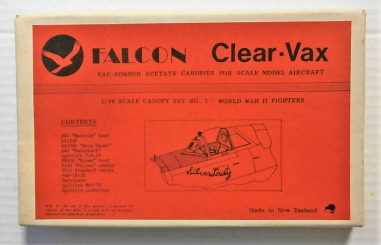 FALCON 1/48 CLEAR-VAX CANOPIES SET No3 WWII FIGHTERS