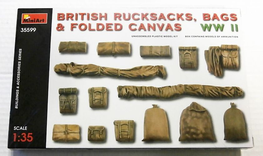 MINIART 1/35 35599 BRITISH RUCKSACKS BAGS   FOLDED CANVAS WWII