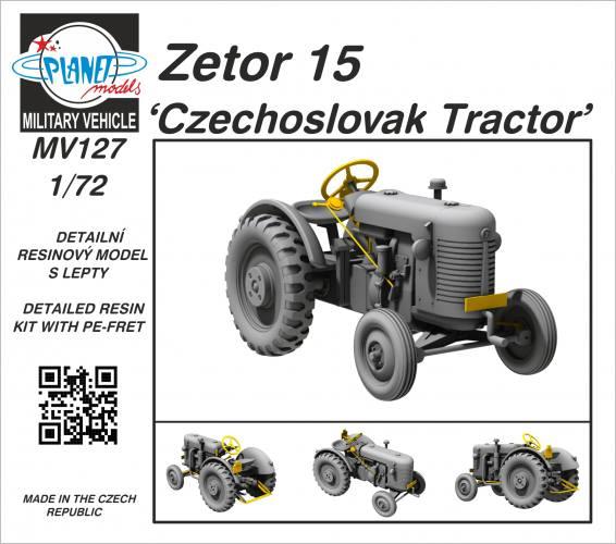 PLANET MODELS 1/72 MV127 ZETOR 15 CZECHOSLOVAK TRACTOR