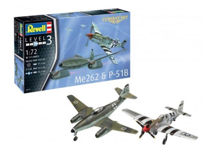 REVELL 1/72 03711 COMBAT SET ME 262   P-51B
