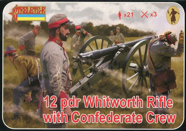 STRELETS 1/72 183 12 PDR WHITWORTH RIFLE WITH CONFEDERATE CREW