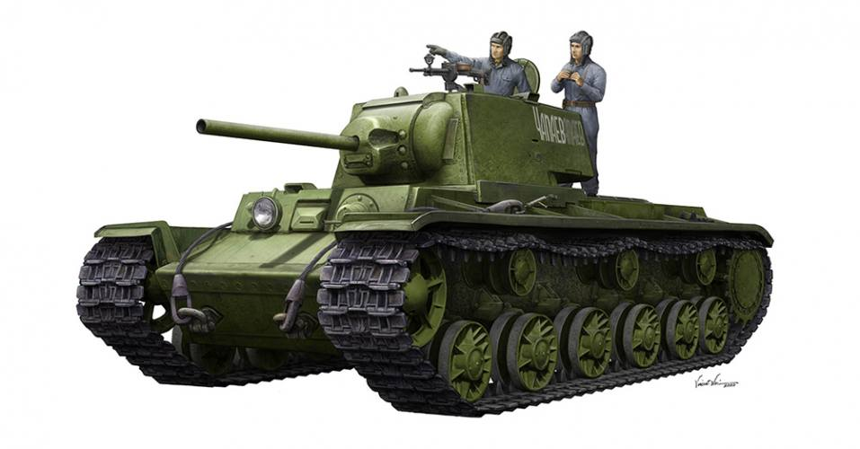 TRUMPETER 1/35 09597 KV-1 1942 SIMPLIFIED TURRET TANK WITH TANK CREW