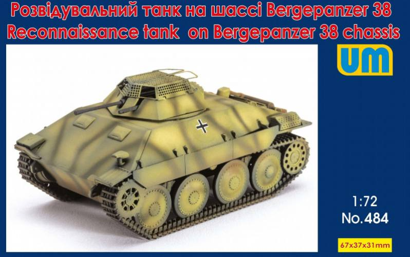 UNIMODEL 1/72 484 RECONNAISSANCE TANK ON BERGEPANZER 38 CHASSIS