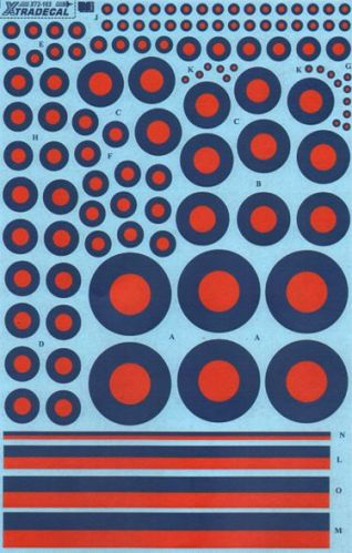 XTRADECAL 1/72 72165 RAF POST WAR/ BLUE TACTICAL ROUNDELS