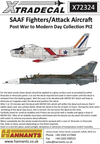 XTRADECAL 1/72 72324 SAAF FIGHTERS/ ATTACK AIRCRAFT POST WAR TO MODERN DAY COLLECTION PT2